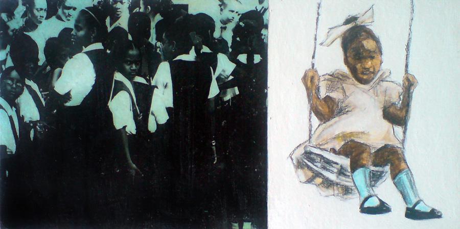 guyanese girl children in school uniform, little girl swinging