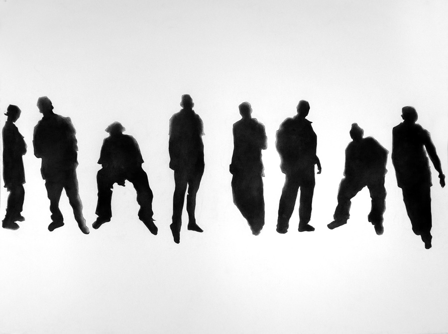 Charcoal image of silhouettes of young men standing in a row