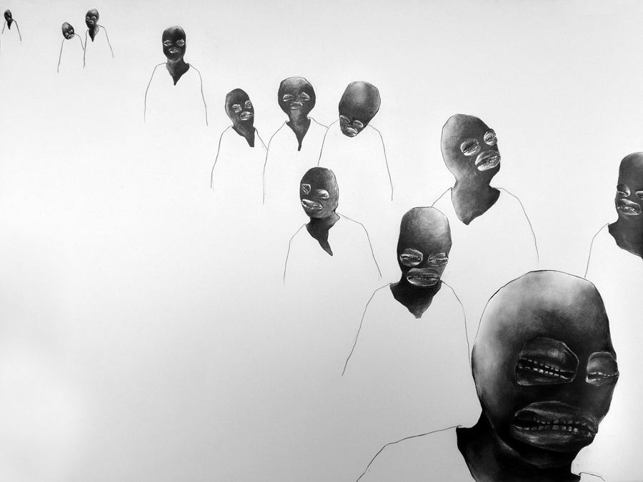 Charcoal image of figures with masks walking in a row