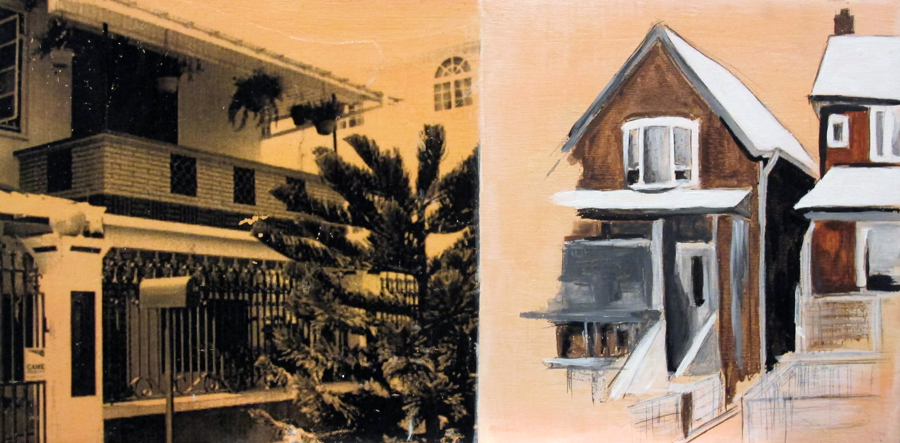 PinkHouse, mixed media on wood, 8x16in., 2009