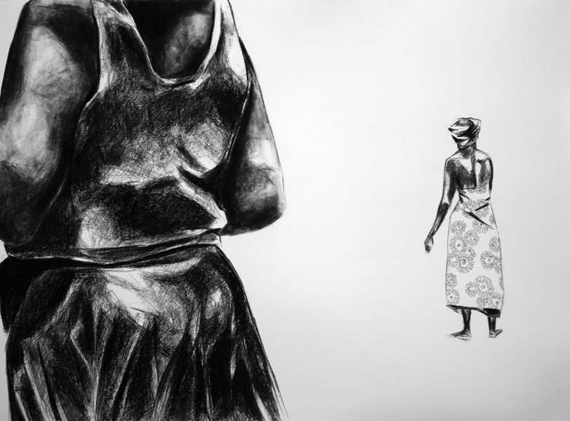 Charcoal drawing of woman in foreground and woman wrapped in African cloth walking in background