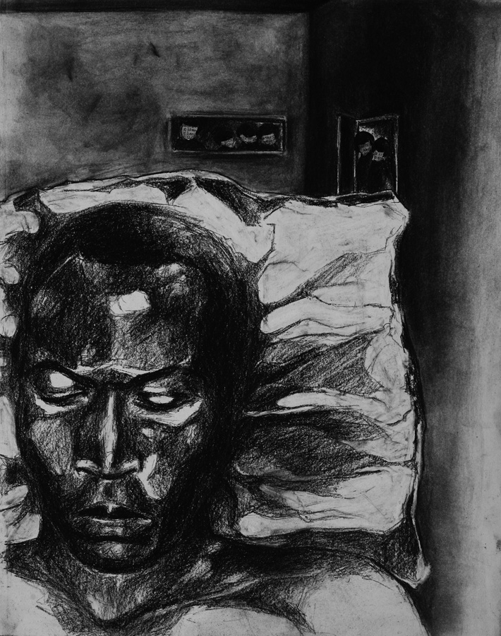 Fela Sleeping, charcoal and collage on paper, 14x11in., 2006