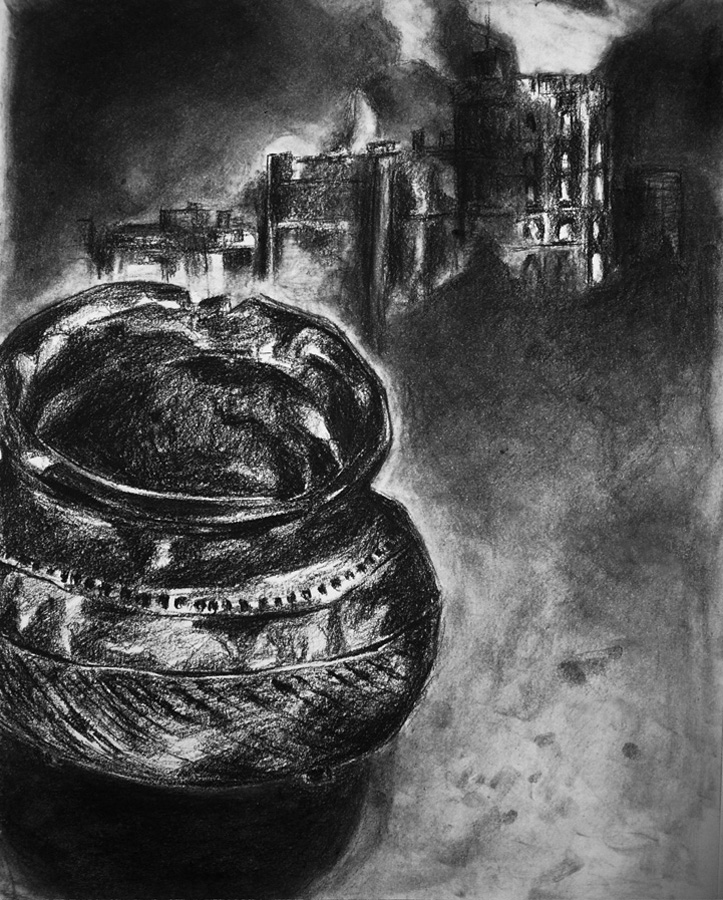 Cauldron, charcoal on paper, 14x11in., 2006