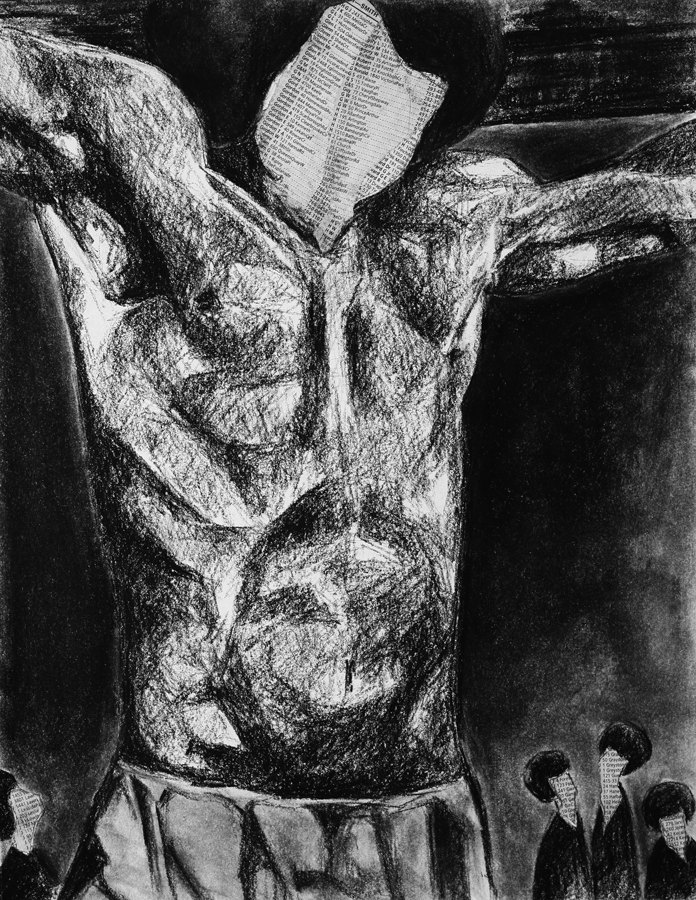 Jesus 2, charcoal and collage on paper, 14x11in., 2006