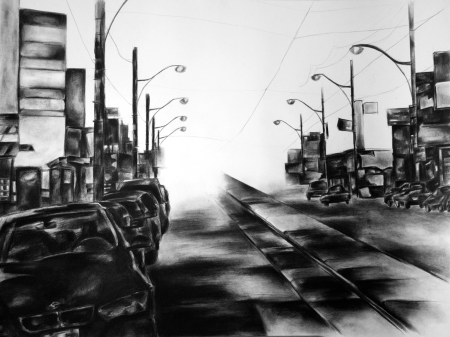 Charcoal drawing of Toronto city street