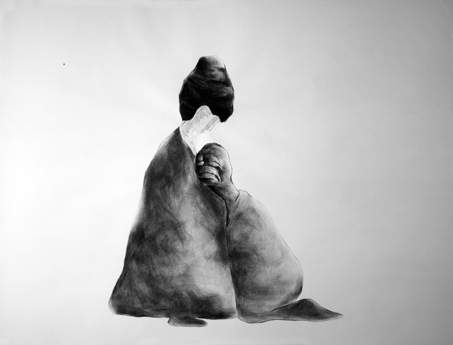 Charcoal image of masked character leaning on afro figure