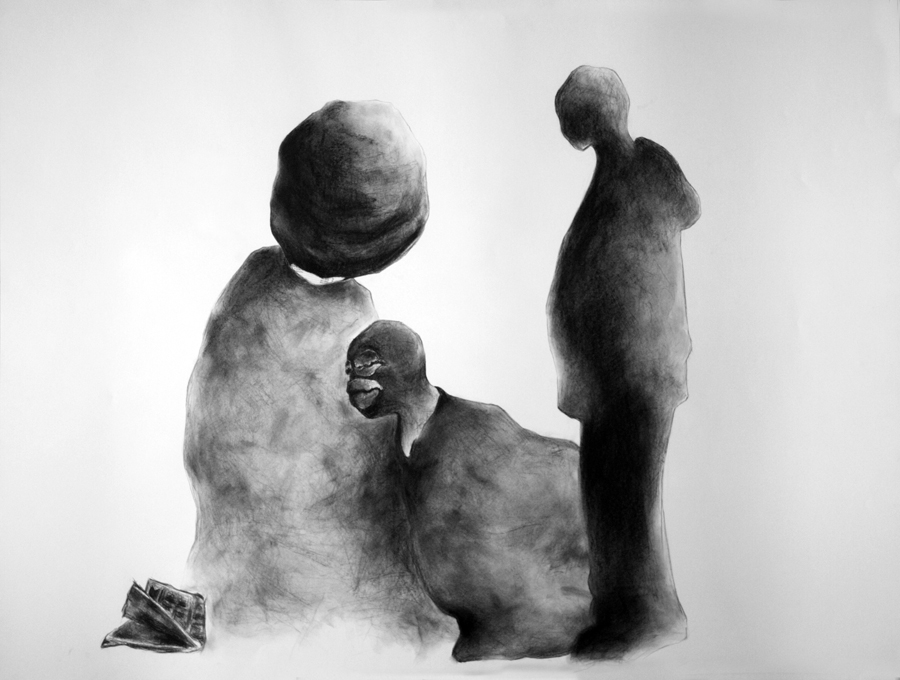 Charcoal image of afro character, masked character and silhouette of young man looking down on newspaper